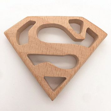 Batman Dark Knight gift Christmas lets start!beech wood crafts,super man and batman badge,wood teether for baby boy gift,Chew toys.Grade a imported beech,factory AT_71_6