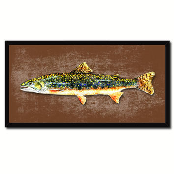 Brook Trout Fish Art Brown Canvas Print Picture Frames Home Decor Nautical Fisherman Gifts