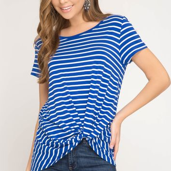 Women's Striped Tee with Front Twist Detail