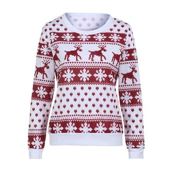 2018 Winter Women Sweater Christmas Red deer and maple leaf pattern Snowflake Printed Long Sleeve Casual Crochet Pullover Mujer
