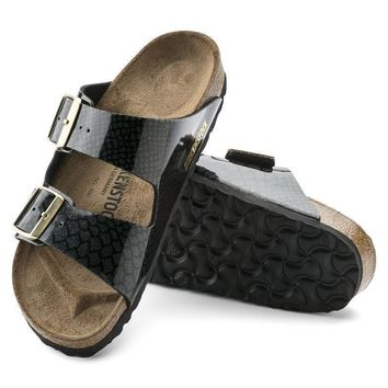 Sale Birkenstock Arizona Birko Flor Magic Snake Black 1009124 Sandals