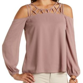 Caged Yoke Cold Shoulder Top by Charlotte Russe - Dusty Rose