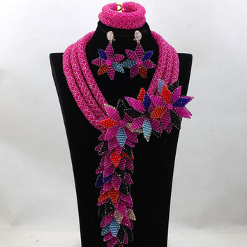 Exclusive Fushia Pink Wedding Beads African Jewelry Set Long Flowers Fall Crystal Bridal Costume Necklace Set Free Ship WA713