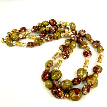 Vintage Kramer Art Glass Faux Pearl Two Strand Necklace
