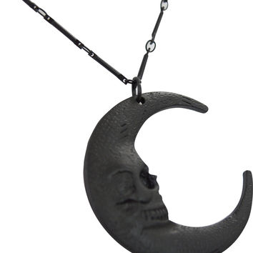 Gothic Gypsy Skull Moon Crescent Pendant occult Necklace