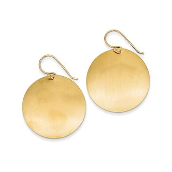 30mm Satin Circle Disc Earrings in 14k Yellow Gold