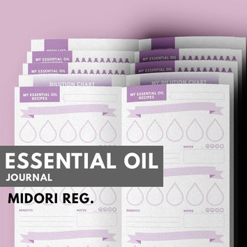 Essential Oil Recipes Journal Midori insert printable, Aromatherapy Journal, Midori, Midori Refill, Essential Oil Diffuser Recipes Journal