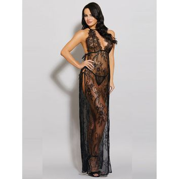 Black High Split Lace Maxi Dress