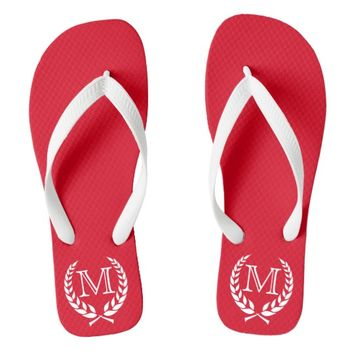 Red Wreath Frame Monogram Flip Flops