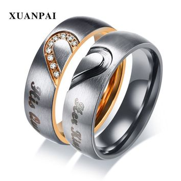 XUANPAI Her King His Queen Couple Wedding Bands Ring Stainless Steel Cubic Zirconia Engagement Promise Ring for Women Men Anel