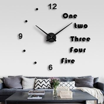 Wall Clock 3D Stickers Fashion Large Size Mirror Wall Sticker Clocks Living Room Decoration