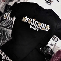 MOSCHINO Trending Casual Print Short Sleeve Round Neck Pullover Tee Tops T-Shirt