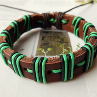Father's Day Gift Stylish Soft Brown Leather cuff Multicolor Cotton cord Adjustable Wrap Bracelet C-34