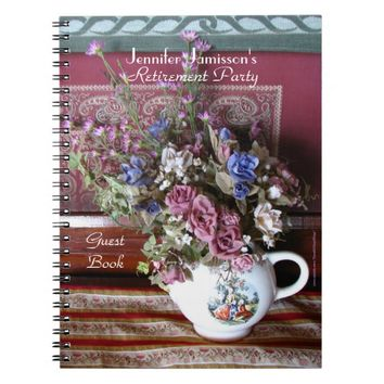 Retirement Party Guest Book, Vintage Teapot Floral Notebook