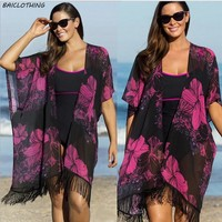 Summer Printed Chiffon Bathing Suit Cover up