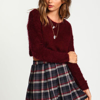 Burgundy Cropped Furry Sweater