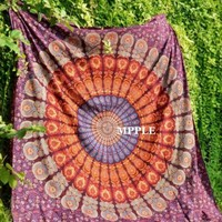 Queen Size Maroon Red Mandala Tapestry Bohemian Wall Tapestry Psychedelic Mat