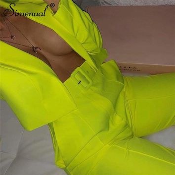 Simenual Neon Fashion Women's Suit Slim Sashes Cropped Blazer And Pants Outfits Casual Autumn 2019 Ladies Suits Set 2 Pieces New