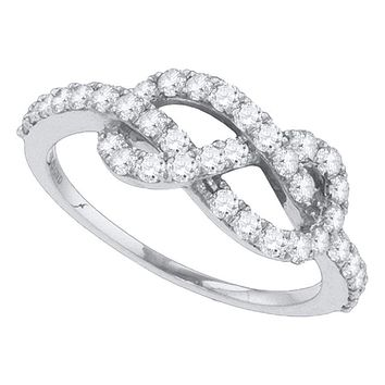 10k White Gold Women's Round Diamond Infinity Anniversary Ring - FREE Shipping (US/CA)