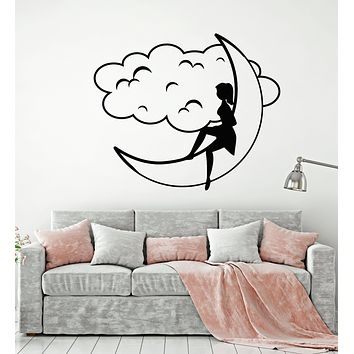 Vinyl Wall Decal Cartoon Girl On The Moon Dreams Cloud Bedroom Decoration Stickers Mural (g317)