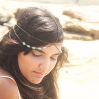 Chain Headband Headpiece Bohemian Hipster Boho Hippie Bronze Turquoise Side Drapes Bridal Statement Jewelry