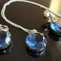 Vintage Montana Blue Faceted Glass Necklace & Earrings Set * Cystal Glass * Wedding Bridal * Drop Earrings * Demi Parure * Jewelry
