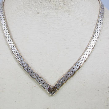 Sterling Riccio Necklace. Italian Sterling Silver Chevon  V Chain Necklace.