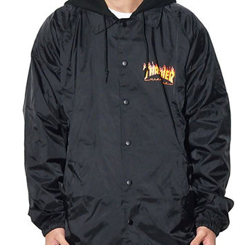 Thrasher Flame Logo Fleece Hood Coach Jacket