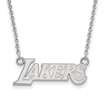 NBA Los Angeles Lakers Sm Pendant Necklace in Sterling Silver - 18 in