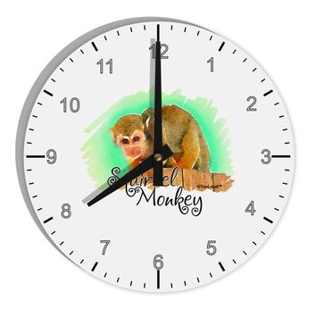 "Squirrel Monkey Watercolor Text 8"" Round Wall Clock with Numbers"