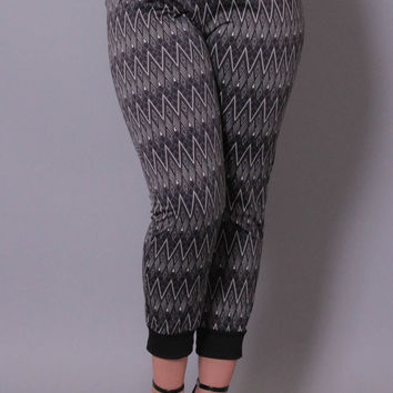 Plus Size Abstract Print Joggers - Grey