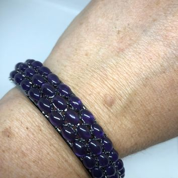 Vintage Genuine Amethyst gemstone 92.5% Sterling Silver Deco Bangle Bracelet