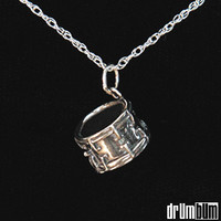 DRUM BUM: JEWELRY: NECKLACES: Silver Mini Snare Necklace, Drums, Pendant, Music Gift, Musical Gift, Marching Band, Percussion