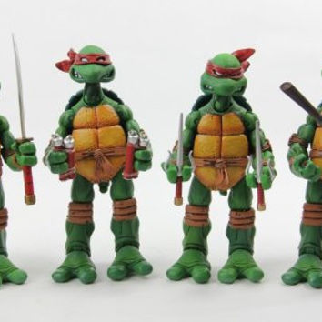 NECA Original TMNT Teenage Mutant Ninja Turtles Garage Kit  Playmates 16CM PVC Action Figure Collection Toy 4 pcs/set