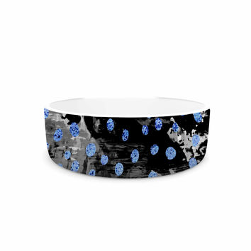 "Vasare Nar ""Blue Moon Polka Dot"" Art Deco Abstract Pet Bowl"