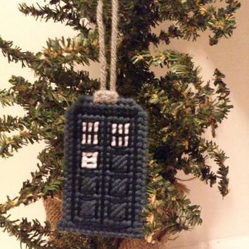Tardis Tree Ornament, Plastic Canvas Tardis, Teacher Gift, Holiday Deco, Police Box Decor, Stocking Stuffer, Nerd Gift, Doctor Who Gift