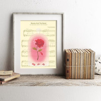 Beauty and the Beast The Enchanted Rose Sheet Music Art Print