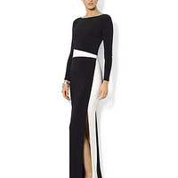 Lauren Ralph Lauren Long-Sleeve Colorblocked Gown