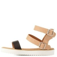 Nude Combo Color Block Double Ankle Strap Sandals by Charlotte Russe