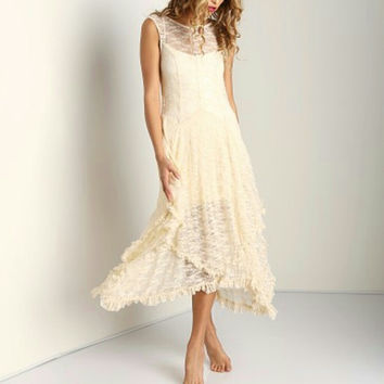 Free People Womens Ivory French Court Slip Lace Tiered Dress Size S