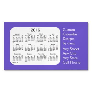 2016 Slate Blue Business Calendar by Janz Magnet Magnetic Business Cards (Pack Of 25)
