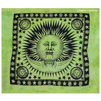 Green Bright Sun Moon Hippie Tie Dye Tapestry Wall Hanging Bedding on RoyalFurnish.com