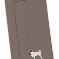 Pug Gray Embroidered Kitchen Towel Set of 2 BB3447GYTWE