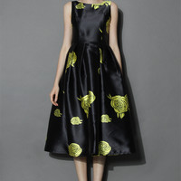 Your Grace Black Prom Dress with Yellow Roses Black