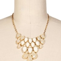 GoldIvory Faceted Teardrop Statement Necklace