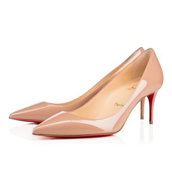Christian Louboutin CL Decollete 554 Nude Patent Leather 70mm Stiletto Heel Classic Best Deal Online