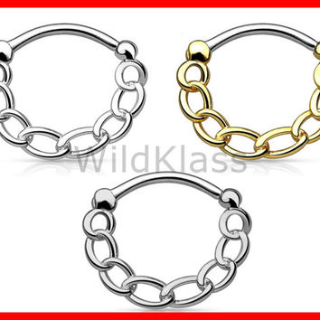 Chain IP 316L Surgical Steel Round Septum Clicker 16g Earring Cartilage Piercing Tragus Ring Nose Septum Ring Gold - Sold by Piece