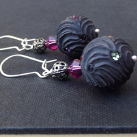 Hot Pink and Black Earrings:  Large Bauble Dangle Earrings, Matte Gunmetal and Silver Earrings, Gothic Jewelry