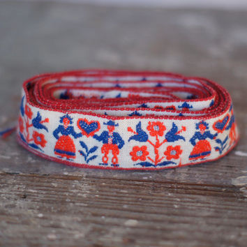 Vintage Embroidered Trim Folk Art People Red & Blue Embroidered Braiding Ribbon on Cream Backing