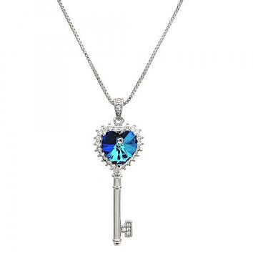 Rhodium Layered 04.239.0035.16 Fancy Necklace, key and Heart Design, with Bermuda Blue Swarovski Crystals and White Micro Pave, Polished Finish, Rhodium Tone
